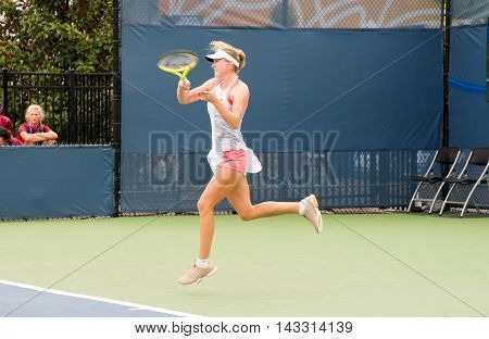 Mason Ohio - August 13 2016: Aliaksandra Sasnovich at the Western and Southern Open in Mason Ohio on August 13 2016.