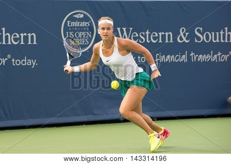 Mason Ohio - August 15 2016: Anna Schmiedlova in a first round match at the Western and Southern Open in Mason Ohio on August 15 2016.