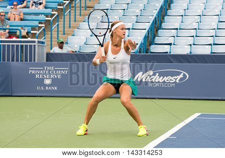 Mason, Ohio - August 15, 2016: Anna Schmiedlova  in a first round match at the Western and Southern Open in Mason, Ohio, on August 15, 2016.