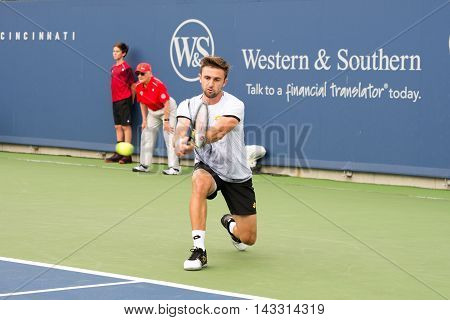 Mason Ohio - August 13 2016: Tim Smyczek at the Western and Southern Open in Mason Ohio on August 13 2016.