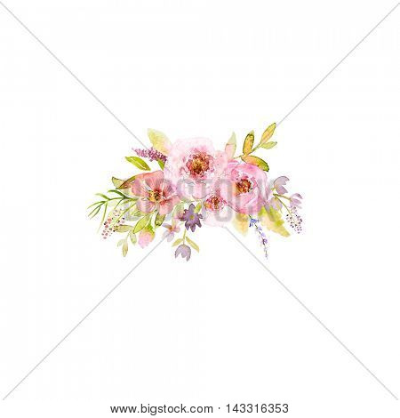 Bouquet of Roses and Meadow Flowers. Hand drawn watercolor flowers