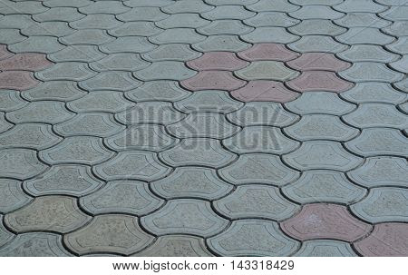Colored pavement tiles background urban geometry and patterns