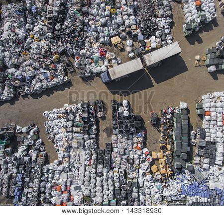 View Landfill Bird's-eye View. Landfill For Waste Storage. View From Above.