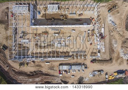 Construction Site Shot From Above.