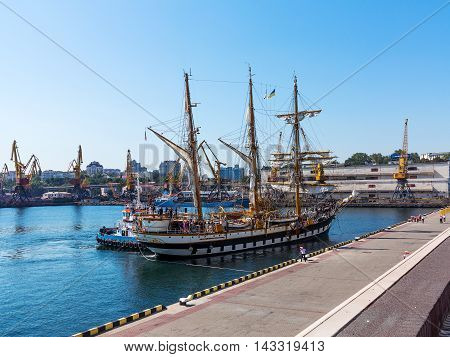 Odessa, Ukraine August 15, 2016: Training Barquentine Italian Navy