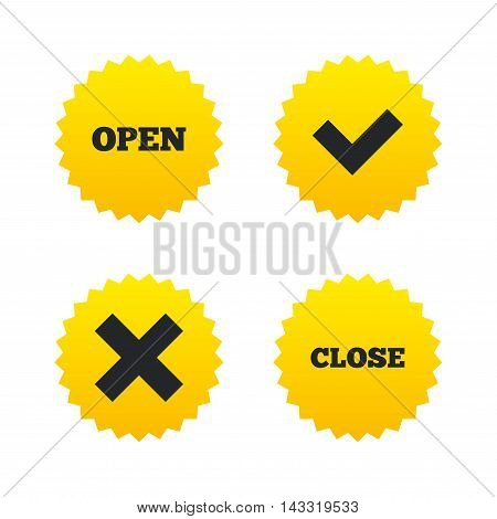 Open and Close icons. Check or Tick. Delete remove signs. Yes correct and cancel symbol. Yellow stars labels with flat icons. Vector