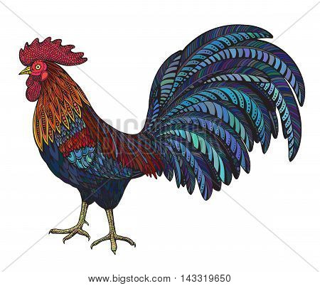 Colorful hand drawn vector illustration of fiery rooster in doodle ornate style. Beautiful pattern. symbol of the new year