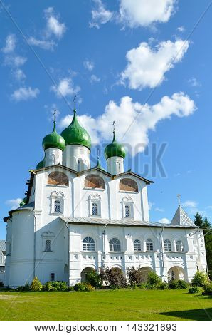 Architecture view - St Nicholas cathedral in Nicholas Vyazhischsky stauropegic monastery Veliky Novgorod Russia architecture view in summer day Orthodox temple architecture