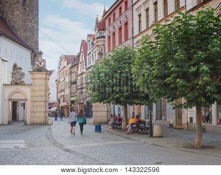 JELENIA GORA POLAND - AUGUST 19 2016: Tourists At The Historic City Gate in Downtown in Jelenia Gora Poland