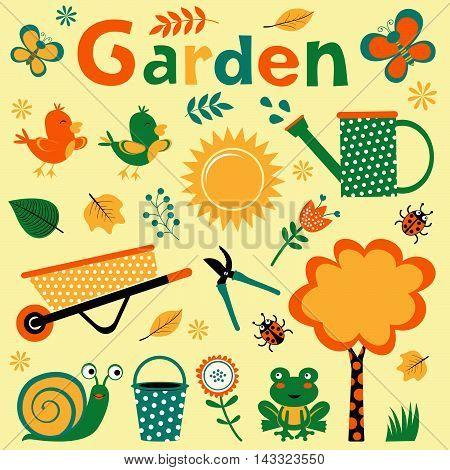 Colorful garden elements cute composition. Vector illustration