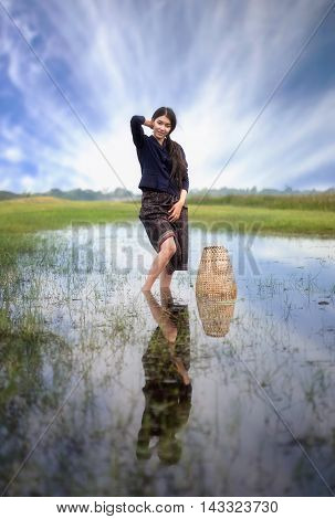 Working woman in countryside of Thailand, Asian