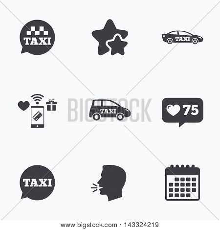Public transport icons. Taxi speech bubble signs. Car transport symbol. Flat talking head, calendar icons. Stars, like counter icons. Vector