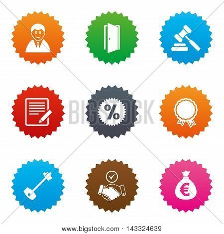 Real estate, auction icons. Home key, discount and door signs. Business agent, award medal symbols. Stars label button with flat icons. Vector