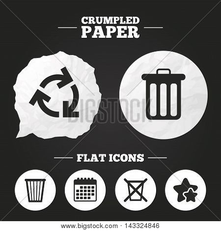 Crumpled paper speech bubble. Recycle bin icons. Reuse or reduce symbols. Trash can and recycling signs. Paper button. Vector poster