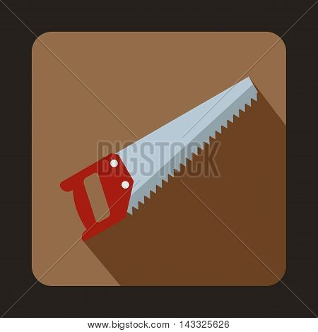 Wood saw icon in flat style with long shadow. Tools symbol