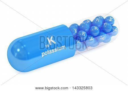 potassium kalium K capsule 3D rendering isolated on white background