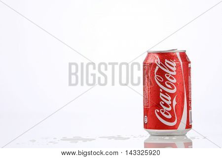Kuala Lumpur,Malaysia,8th Aug 2016,Can of coca cola on white Background. Coca Cola, Coke is the most popular carbonated soft drink beverages sold in malaysia