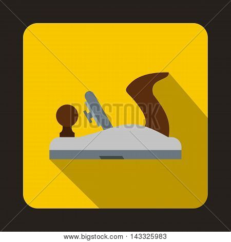 Planer on wood icon in flat style with long shadow. Tool symbol