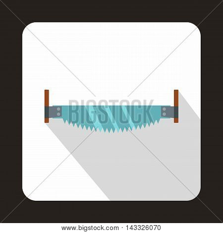 Two-man saw icon in flat style with long shadow. Tool symbol