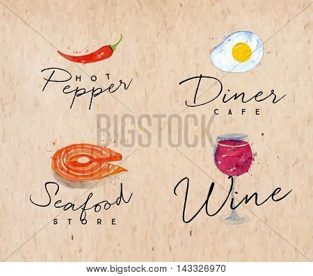 Set of watercolor labels lettering hot pepper diner cafe seafood store wine drawing on kraft background