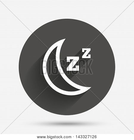 Sleep sign icon. Moon with zzz button. Standby. Circle flat button with shadow. Vector