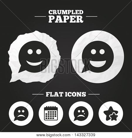Crumpled paper speech bubble. Speech bubble smile face icons. Happy, sad, cry signs. Happy smiley chat symbol. Sadness depression and crying signs. Paper button. Vector