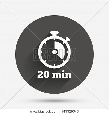 Timer sign icon. 20 minutes stopwatch symbol. Circle flat button with shadow. Vector