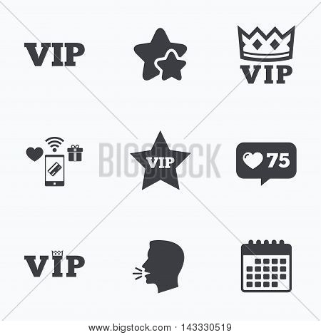 VIP icons. Very important person symbols. King crown and star signs. Flat talking head, calendar icons. Stars, like counter icons. Vector