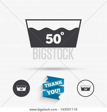 Wash icon. Machine washable at 50 degrees symbol. Flat icons. Buttons with icons. Thank you ribbon. Vector