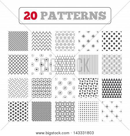 Ornament patterns, diagonal stripes and stars. Windrose navigation icons. Compass symbols. Coordinate system sign. Geometric textures. Vector