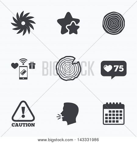 Wood and saw circular wheel icons. Attention caution symbol. Sawmill or woodworking factory signs. Flat talking head, calendar icons. Stars, like counter icons. Vector