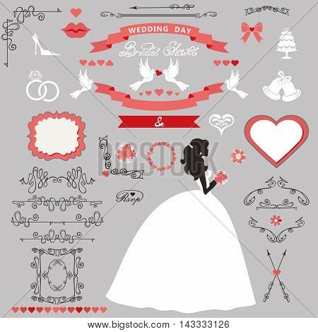 Wedding bridal shower invitation card decor set.Cartoon  bride in whte long dress, Swirling borders, ribbon, icons, heart, label.Design template kit, save date card.Vintage Vector Illustration, flat.