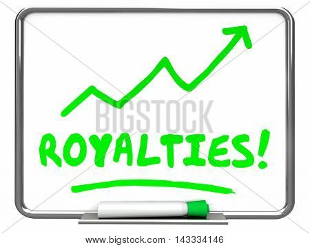 Royalties Income Commissions Rise Increase Erase Board 3d Illustration