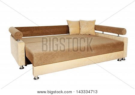 Brown And Beige Sofa Isolated On White Background