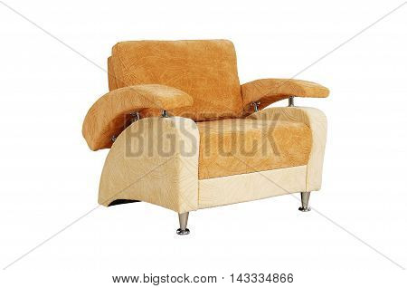 Brown Chair With Fabric Upholstery Isolated On White Background