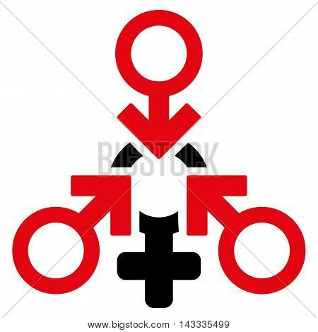 Triple Penetration Sex icon. Vector style is bicolor flat iconic symbol with rounded angles, intensive red and black colors, white background.