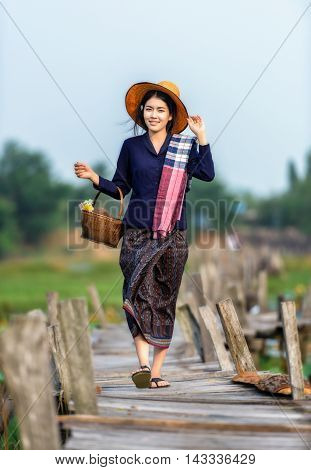Thai local woman working in Thailand, Asia