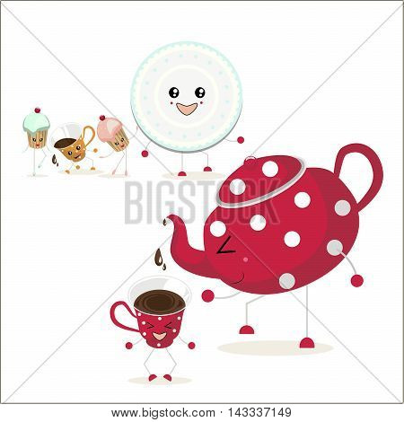 The illustration. In the foreground a red teapot with white polka dots pours tea into the cup. In the background are plate, two cupcakes and a cup of orange with white polka dots.