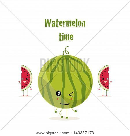 The illustration. A big round watermelon is and two pieces cut from a watermelon stand and wave . The phrase green color