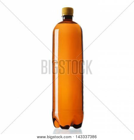 Brown Plastic Bottle Isolated On White Background