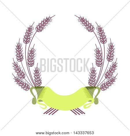 Vector Border of Barley Fame and Ribbon, isolated on white background
