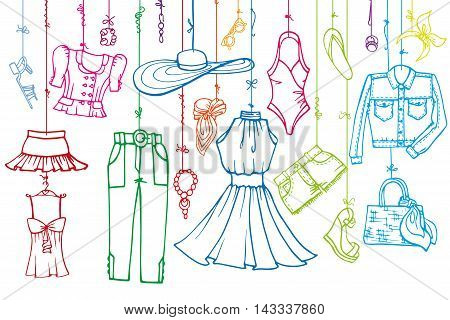 Fashion illustration.Vector hand drawn  fashionable women  clothes and accessories hanging on rope.Summer vacation wear, linear.Retro Sketches background, scrapbooking, design template.Horizontall.