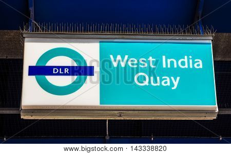 LONDON UK - JUNE 11 2015: Docklands Light Railway sign at West India Quay (HDR)