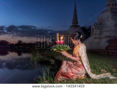 Loy Krathong Traditional Festival Thai woman hold kratong Thailand