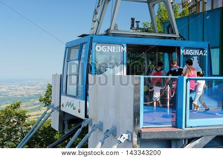 San-Marino - August, 8, 2016: funicular in San-Marino, one of the smallest counties in the world