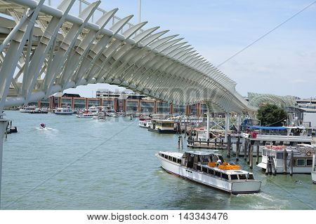VENICE, ITALY - June, 21, 2016: Venice Monorail line wich connects Venice with the Marittima cruise terminals