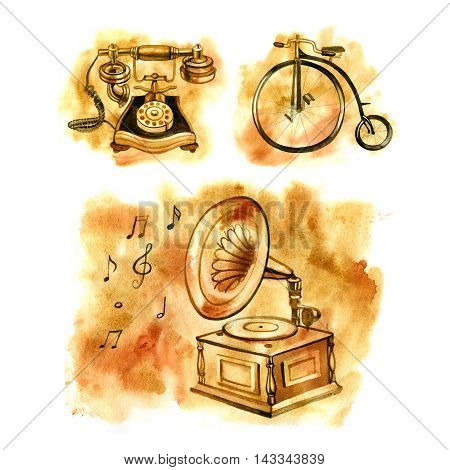 Watercolor illustration of old things. The gramophone, the Bicycle and the phone. Antiques.