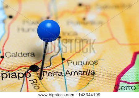Tierra Amarilla pinned on a map of Chile