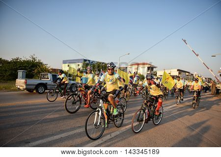 NONG KHAITHAILAND - DEC 11: Bike for Dad activity in Father Day on December 11th 2015 in Nong khai.Thai people ride bicycle to celebrate the Father day every year.