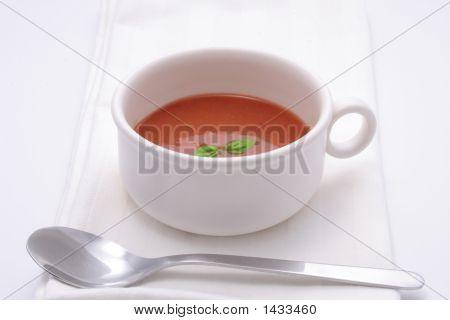 Tomato Soup With Basil Garnish